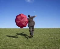 Geschäftsmann mit Regenschirm stockbilder