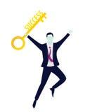 Geschäftsmann mit Schlüssel des Erfolgs Lizenzfreies Stockbild
