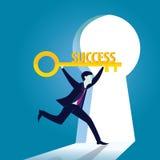 Geschäftsmann mit Schlüssel des Erfolgs Lizenzfreie Stockbilder