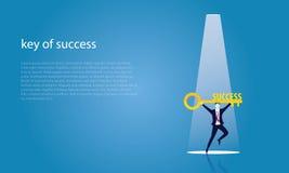 Geschäftsmann mit Schlüssel des Erfolgs Stockfotos