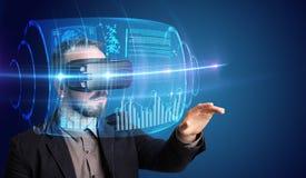 Geschäftsmann mit Schutzbrillen der virtuellen Realität Stockbild