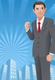 Geschäftsmann mit seiner Faust oben Lizenzfreies Stockbild