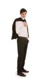 Geschäftsmann mit seiner Jacke über seiner Schulter Lizenzfreie Stockbilder