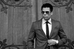 Geschäftsmann mit Sonnenbrille, Gray Suit, Schwarzes u. Wh Stockbild