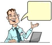 Geschäftsmann mit Spracheblase stock abbildung