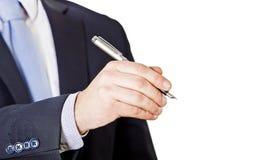 Geschäftsmann mit Stift Lizenzfreies Stockbild