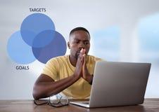 Geschäftsmann mit Tablette am Schreibtisch mit DiagrammKreisdiagramm von Zielen und von Zielen Stockbild