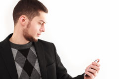 Geschäftsmann mit Telefon Stockbild