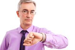 Geschäftsmann mit Uhr Lizenzfreies Stockfoto
