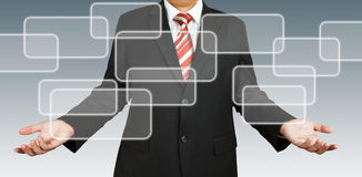 Geschäftsmann mit unbelegtem rechteckigem lizenzfreie stockbilder