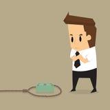 Geschäftsmann mit vermutlich defektem Geld in der Falle stock abbildung