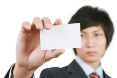 Geschäftsmann mit weißem Vorstand lizenzfreie stockfotos