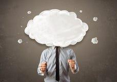 Geschäftsmann mit weißer Wolke auf seinem Hauptkonzept Stockbild