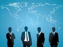 Geschäftsmann mit Weltkarte stock abbildung
