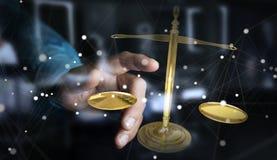 Geschäftsmann mit Wiedergabe der wiegenden Skalen 3D der Gerechtigkeit Stockfoto
