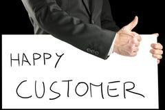 Geschäftsmann mit Zeichen - glücklicher Kunde lizenzfreies stockbild
