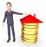 Geschäftsmann-Money Represents Real-Zustand und Wiedergabe der Bank-3d Lizenzfreies Stockfoto