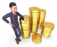 Geschäftsmann-Money Shows Finances-Erfolg und Wiedergabe der Illustrations-3d Lizenzfreies Stockfoto
