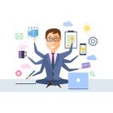 Geschäftsmann With Multitasking vektor abbildung