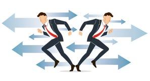 Geschäftsmann muss Entscheidung treffen, die Weise, seine Erfolgsvektorillustration anzustreben Lizenzfreie Stockfotos