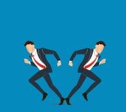 Geschäftsmann muss Entscheidung treffen, die Weise, seine Erfolgsvektorillustration anzustreben Stockfotografie