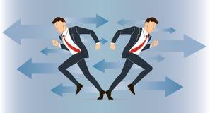 Geschäftsmann muss Entscheidung treffen, die Weise, seine Erfolgsvektorillustration anzustreben Lizenzfreies Stockbild