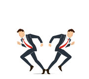 Geschäftsmann muss Entscheidung treffen, die Weise, seine Erfolgsvektorillustration anzustreben Lizenzfreie Stockbilder