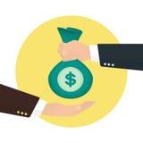 Geschäftsmann nimmt Tasche des Geldes von anderen Stockbild