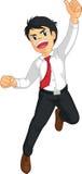 Geschäftsmann oder Büroangestellter, der in Freude springt Stockfotografie