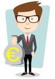Geschäftsmann oder Banker mit einer Tasche des Goldbargeld-Euros vektor abbildung