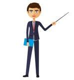 Geschäftsmann oder Lehrer mit einer flachen Karikaturillustration des Zeigers Stockbilder