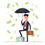 Geschäftsmann- oder Managergriffregenschirm und -stellung unter Geld regnen Büroangestelltcharakter auf weißem Hintergrund Lizenzfreies Stockfoto