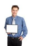 Geschäftsmann- oder Verkäuferholdingzeichen Stockfotografie