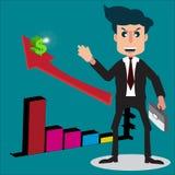 Geschäftsmann- oder Verkäuferzeichentrickfilm-figur-Art lächelt und h Lizenzfreies Stockfoto
