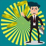 Geschäftsmann- oder Verkäuferzeichentrickfilm-figur-Art lächelt und h Stockfotos