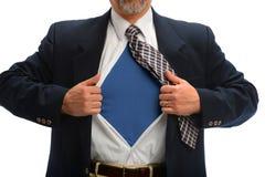 Geschäftsmann Opening Shirt, zum des Superheld-Kostüms aufzudecken Stockfotografie