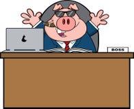 Geschäftsmann-Pig Cartoon With-Sonnenbrille, Zigarre hinter Schreibtisch Lizenzfreies Stockfoto