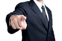 Geschäftsmann Pointing, das ich Sie wünsche, lokalisierte Stockfotografie
