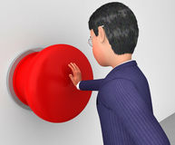 Geschäftsmann Pushes Button Represents kommen in Gang und aktivieren Lizenzfreies Stockbild