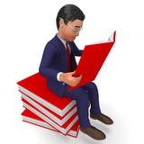 Geschäftsmann-Reading Books Indicates-FAQ entwickeln sich und Exekutive Stockfoto