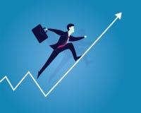 Geschäftsmann Running auf Erfolgs-Pfeil Stockfoto