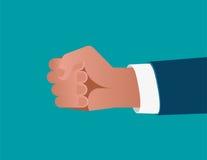 Geschäftsmann ` s Faust auf blauem Hintergrund Konzeptgeschäft illustra Stockfotografie