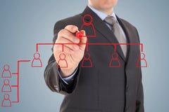 Geschäftsmann ` s Hand, die eine Organisationsübersicht zeichnet stockfoto