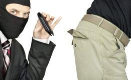 Geschäftsmann-Sammeln-Tasche des Mittelstand-Mannes Lizenzfreies Stockfoto