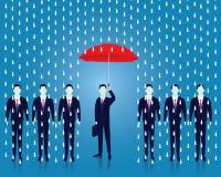 Geschäftsmann schützen Frauen mit Regenschirm Geschäftsmann und Regenschirm Vektor Stockfotografie
