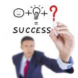 Geschäftsmann schauen oben und notwendige Sache für Erfolg schreibend Stockbild