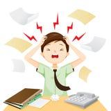 Geschäftsmann-schreckliche Kopfschmerzen mit seiner Arbeit Stockbilder