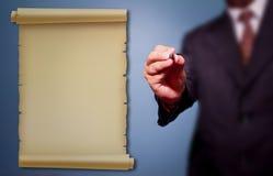 Geschäftsmann schreiben Benennung Lizenzfreie Stockfotos