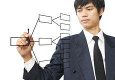 Geschäftsmann schreiben Diagramm stockbild