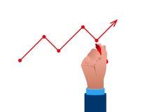 Geschäftsmann schreiben eine Zusammenfassung oder das Wachstum Konzeptgeschäft illu Stockbild
